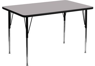 36W x 72L Rectangular Activity Table with Grey Thermal Fused Laminate Top and Standard Height Ad