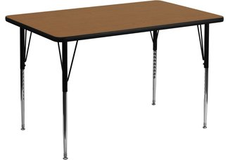 36W x 72L Rectangular Activity Table with Oak Thermal Fused Laminate Top and Standard Height Adj