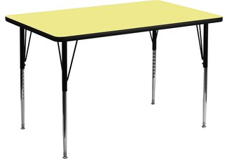 36W x 72L Rectangular Activity Table with Yellow Thermal Fused Laminate Top and Standard Height
