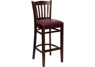 Vertical Slat Back Wooden Bar Stool | Mahogany Finished | Burgundy Vinyl Seat