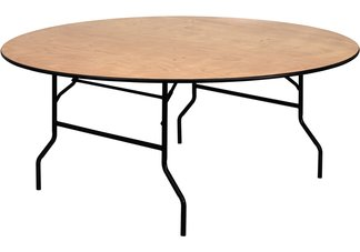 72 Round Wood Folding Banquet Table with Clear Coated Finished Top