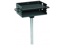 Commercial Park 2-3/8 Rotating Flipback Pedestal Grill w/ Post- Black