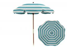 7.5' Turquoise/White Beach Umbrella - Wood Pole, 7.5 Beach Umbrella Turquoise White Stripe