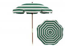 7.5' Teal/White Beach Umbrella - Wood Pole, 7.5 Beach Umbrella Teal White Stripe