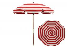 7.5' Red/White Beach Umbrella - Wood Pole, 7.5 Beach Umbrella Red White Stripe