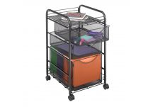 Onyx Mesh File Cart with 3 Drawers