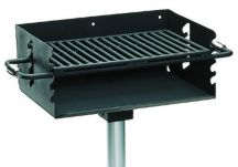 Commercial Park 3-1/2 Rotating Flipback Pedestal Grill with Post- Black