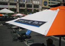 Orange and White Logo Market Umbrella