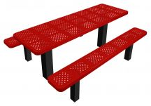 picnic table, perforated metal picnic table, commercial site furnishings, permanent mount tables