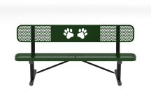 6' Perforated Dog Park Bench with Back