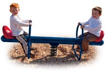 Commercial Playground 2-Rider Spring See Saw- Blue w/ Red Seats