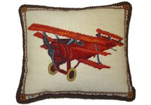 Vintage Airplane Needlepoint Pillow