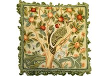 Bird and Cherries Needlepoint Pillow