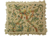 Plummed Bird in Vines Needlepoint Pillow