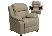 Contemporary Beige Vinyl Kids Recliner with Storage Arms