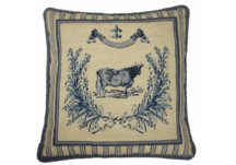 French Blue Cow Needlepoint Pillow