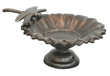 Antique Brass Dragonfly Tabletop Birdbath