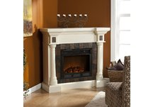 Carrington Faux Slate Convertible Ivory Electric Fireplace