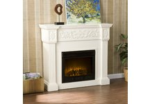 Calvert Carved Ivory Electric Fireplace
