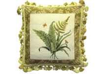 Fern and Butterflies Needlepoint Pillow