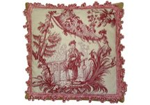 Red Chinese Fishman Needlepoint Pillow