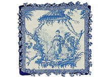 Blue Chinese Fishwoman Needlepoint Pillow