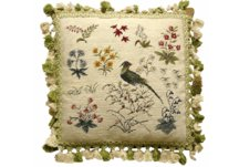 Old World Bird and Floral Needlepoint Pillow