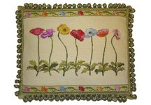 Poppies Floral Needlepoint Pillow