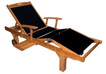 Teak Sling Sun Lounger with Arms in Black, Teak Sling Sun Lounger with Arms - Black