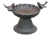 Copper Rust Twin Bird Tabletop Birdbath