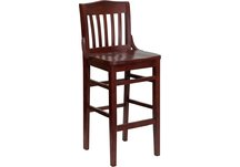 HERCULES Series Mahogany Finished School House Back Wooden Restaurant Bar Stool