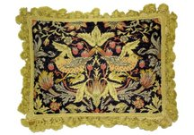 Old World Yellow Birds Needlepoint Pillow