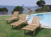 Teak chaise loungers