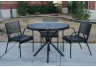 Round Expanded Metal Canteen Table with Stacking Chairs