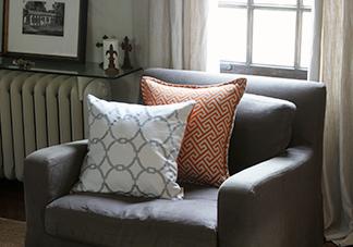 White And Orange Throw Pillows