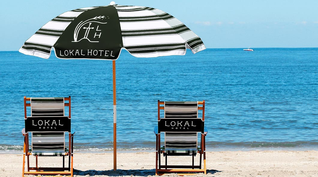 Personalized Beach Umbrella and Chairs