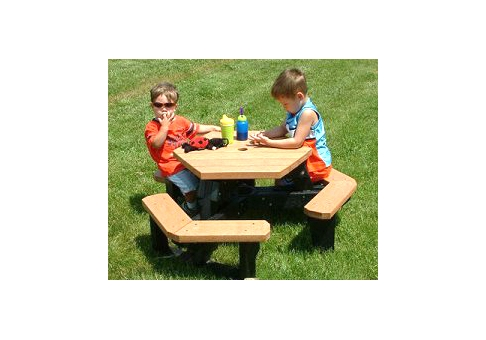 Kids Open Hexagon Recycled Plastic Table Commercial Site