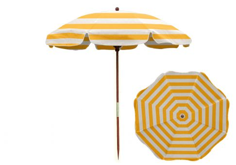 7 5 Ft Yellow And White Stripe Wood Beach Umbrella