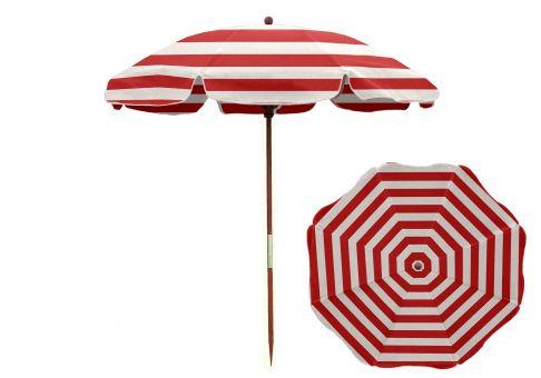 7 5 Ft Red And White Stripe Wood Beach Umbrella