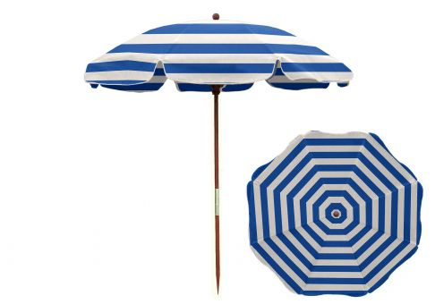 7 5 Ft Blue And White Stripe Wood Beach Umbrella
