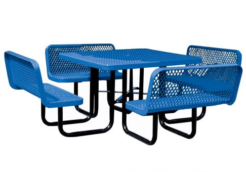 Inch Expanded Metal Square Picnic Table With Seats Commercial - Square picnic table with benches