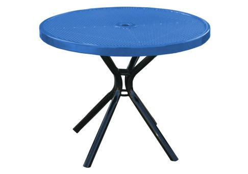 42 Inch Round Punched Metal Canteen Table Commercial