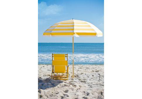 7 5 Ft Yellow And White Stripe Wood Beach Umbrella