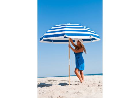 7 5 Ft Blue And White Stripe Wood Beach Umbrella