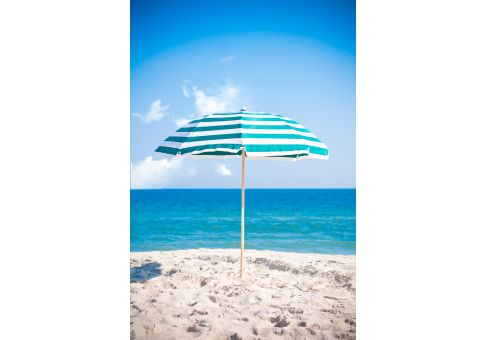 7 5 Ft Turquoise And White Stripe Wood Beach Umbrella