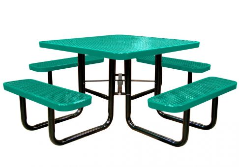 Inch Expanded Metal Square Picnic Table Commercial Site Furnishings - Teal picnic table