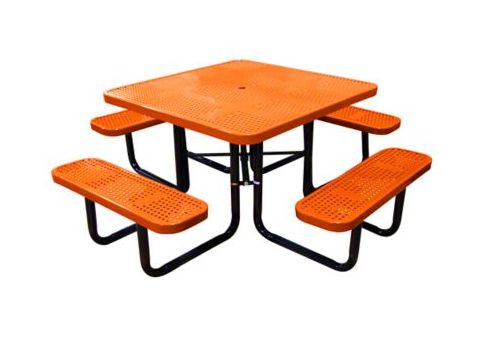 Inch Perforated Metal Square Picnic Table Commercial Site - Square metal picnic table