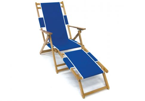 Classic Oak Wood Beach Chair With Detachable Footrest