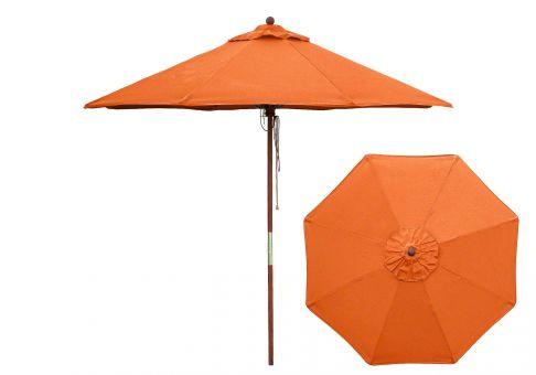 Custom 9 Ft Sunbrella Wood Market Umbrella