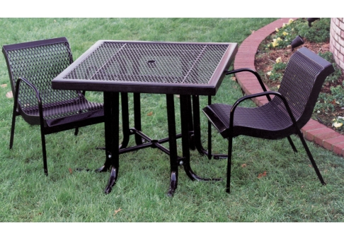 3 Piece Modern Expanded Metal Canteen Patio Set